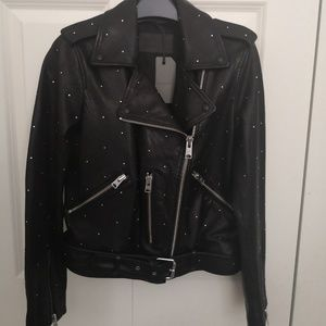 All Saints NWT balfern studded leather jacket